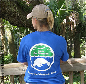 Save the Manatee Club's Volunteer Rewards t-shirt back featuring the SMC logo.