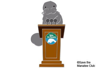 Save the Manatee Volunteer Presentation Pin.