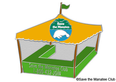 Tabling Pin – For volunteers who staff education tables for Save the Manatee Club at events and festivals for three hour shifts or more at three events per year, which includes one opening or one closing.