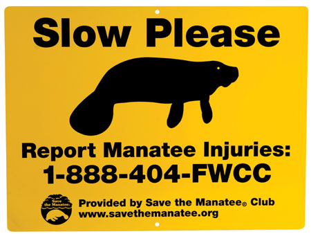Manatee public awareness waterway sign.