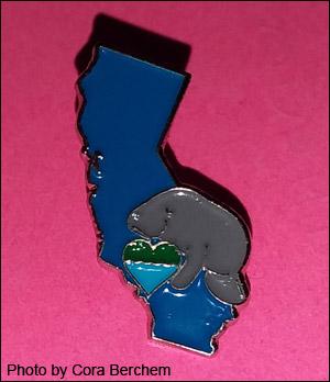 California-shaped volunteer pin for Laura Osteen