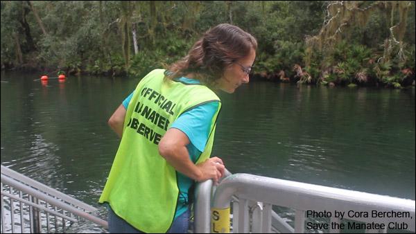 Volunteer Jackie Cheers, a Manatee Observer