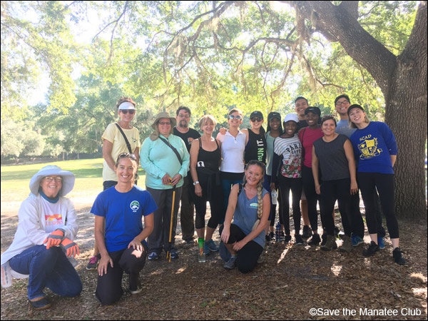 Save the Manatee Club volunteers who participated in a cleanup effort at Blue Spring State Park.
