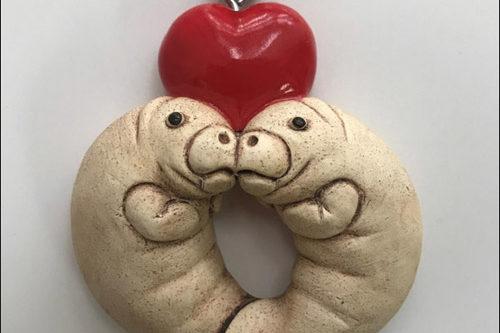 Manatee heart ornament