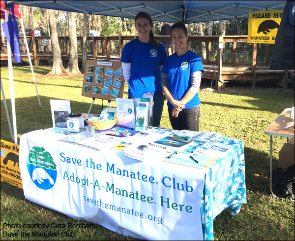 Volunteer Cary Evans and Cora Berchem, Save the Manatee Club staff member