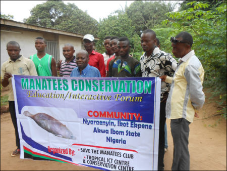 Villagers in Nigeria attend a conservation workshop funded by Save the Manatee Club.