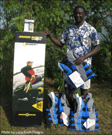 Researcher Tomas Diagne in West Africa with donated equipment.