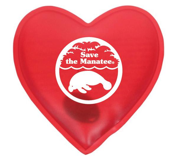 A Save the Manatee heart-shaped hand warmer.